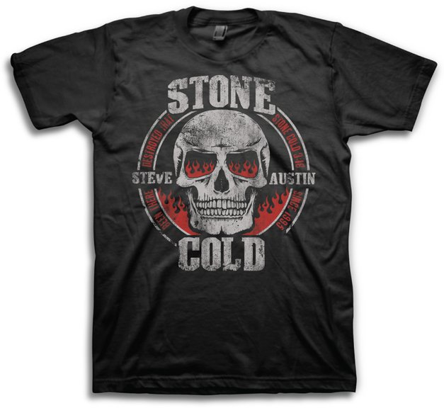 Mens Graphic Tee WWE Stone Cold Skull Adult T-shirt Size L