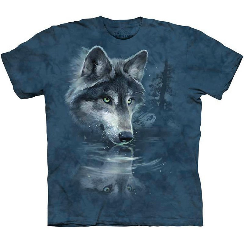 The Mountain Mens Graphic Tee Wolf Reflection T-shirt Size S