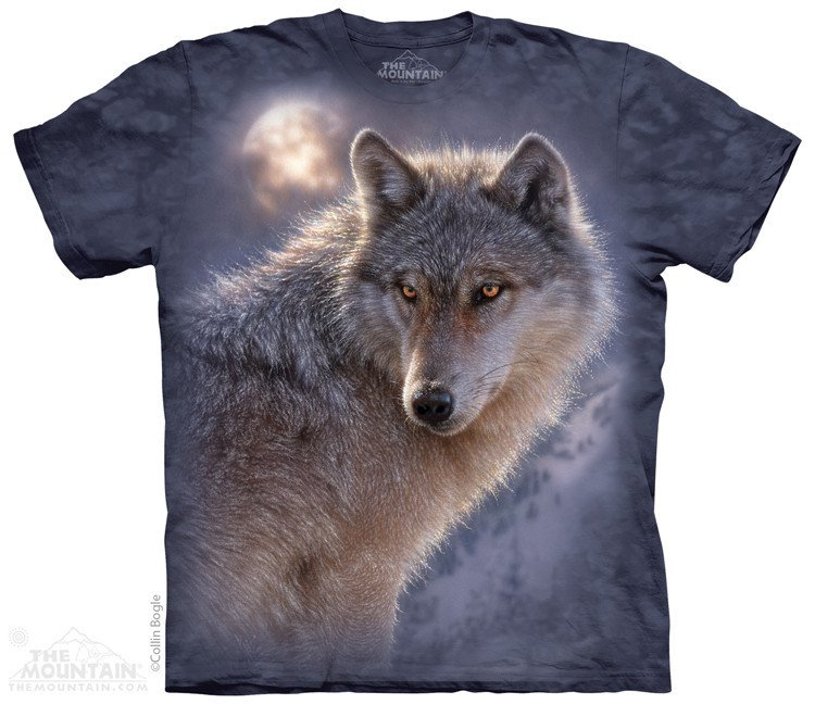 The Mountain Graphic Tee Adventure Wolf T-Shirt Size L
