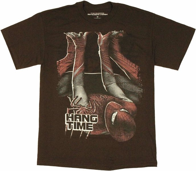 Marvel Mens Graphic Tee Spiderman Downside Up Hang Time T-shirt Size L