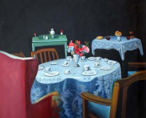 "Tea Party with Floral Tea Cups 20"" x 24"" Original Oil"