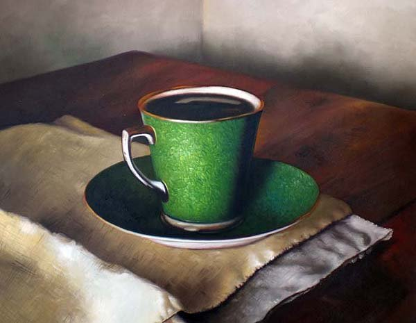 "Green Porcelain Cup and Saucer 20"" x 24"" Original Oil"