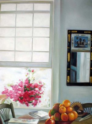"""Table with Fruit and Open Window 20"""" x 24"""" Original Oil"""