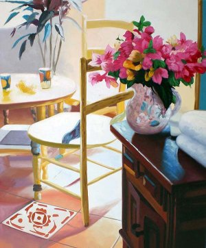 """Table and Pink flowers 20"""" x 24"""" Original Oil"""