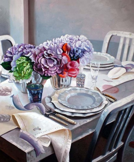 "Purple and Blue Table Setting 20"" x 24"" Original Oil"