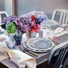 "Purple and Blue Table Setting 20"" x 24"" Original Oil"