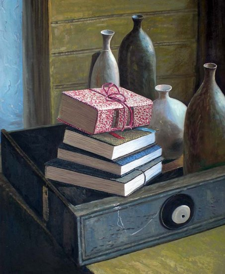 """Still life with books and vases 20"""" x 24"""" Original Oil"""