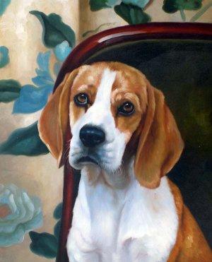 "Beagle Canine on Chair 20"" x 24"" Original Oil"