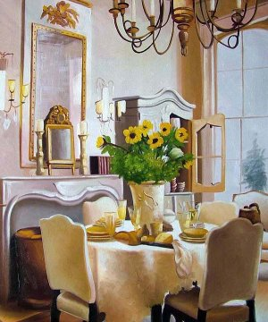 """Dining Table with Sunflowers 20"""" x 24"""" Original Oil"""