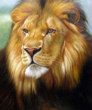 """Lion the wild King 20"""" x 24"""" Original Oil"""