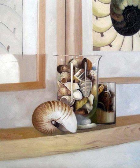 """Seashells on mantle 20"""" x 24"""" Original Oil"""