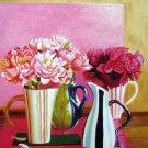 "Arrangements in Colorful Vases 20"" x 24"" Original Oil"