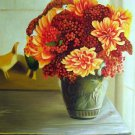 "Arrangement of Sedum and Dahlias 20"" x 24"" Original Oil"