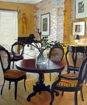 """Dining table and chairs in home 20"""" x 24"""" Original Oil"""