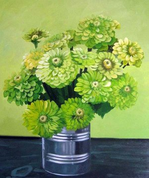 "Green Zinnias in a Can 20"" x 24"" Original Oil"