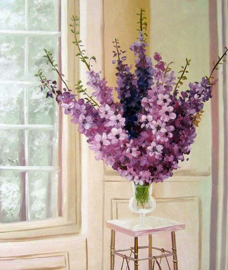 "Arrangement of hybrid delphinium 20"" x 24"" Original Oil"