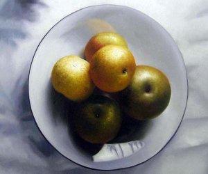 """Bowl of Asian pears 20"""" x 24"""" Original Oil"""