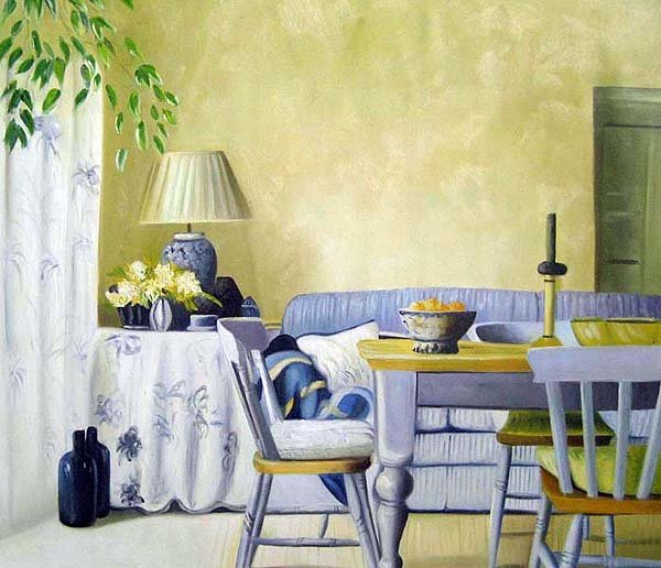 "Dining Room and Couch in Matching Blue 20"" x 24"" Original Oil"