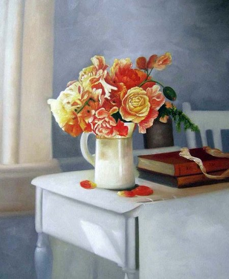 """Sweet Peas and Iceland Poppies 20"""" x 24"""" Original Oil"""