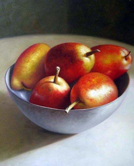 """Red Pears Still Life 20"""" x 24"""" Original Oil"""