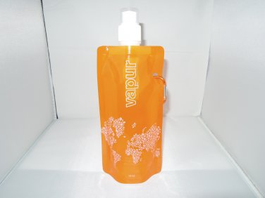 Orange Foldable Reusable Water Bottle Bag 16oz/480ml