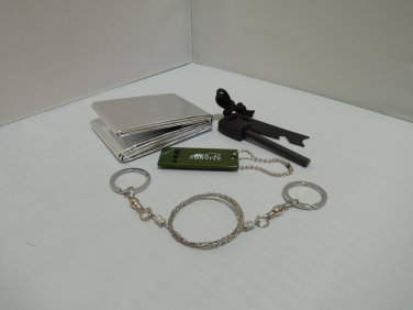 Survival kit Set Whistle+Fire Starter+Wire Saw+Emergency Blanket