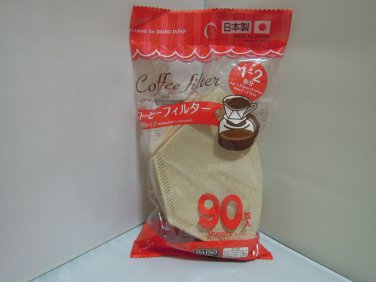New Coffee Filter 90 Sheets Unbleached Brown 1-2 Cups (Made In Japan)
