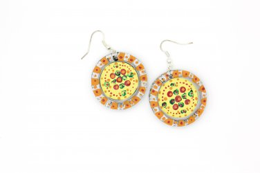 Painted Upcycled Bottle Cap Earrings - Bubble Dot
