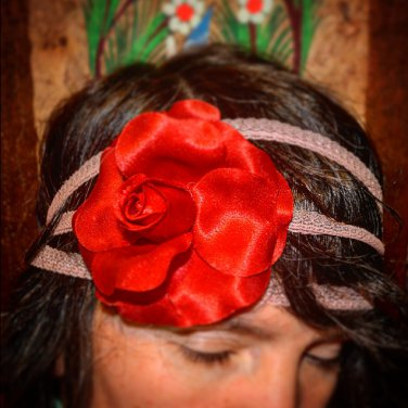 SUMMER SALE Upcycled Fabric Flower and Vintage Lace Headband