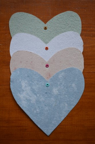 Recycled Paper Heart Tag Four Pack