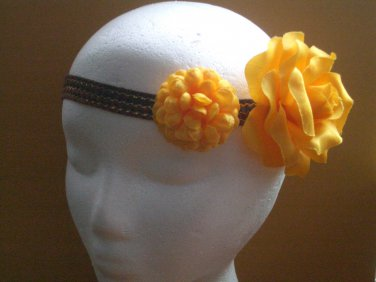 SUMMER SALE Upcycled Fabric Flower and Vintage Trim Headband
