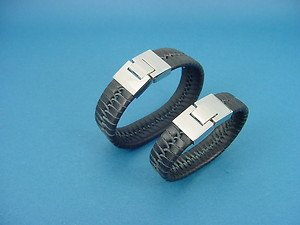 set of genuine black leather bracelets with s.steel lock for her and him 745