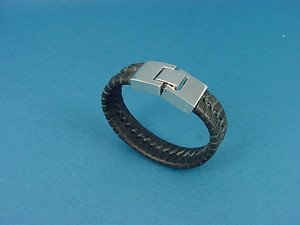short bracelet in genuine black leather with stainless steel lock for ladies 742