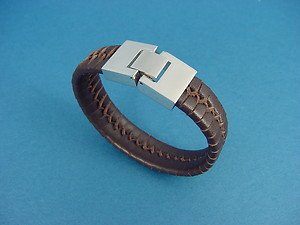 ladies' genuine leather bracelet in dark brown with stainless steel lock 740