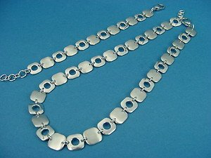 set of stainless steel shiny and brushed fantasy necklace and bracelet 267