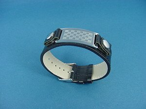 black leather bracelet with stainless steel middle plate and buckle 711