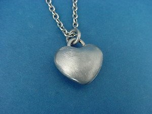 handbrushed heart charm with rolo chain in stainless steel 346