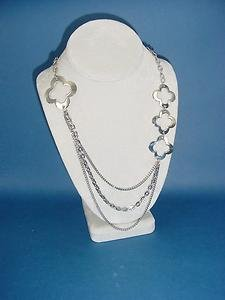 s. steel necklace with wavery flower charms, 3 chains and lobster clasp 573