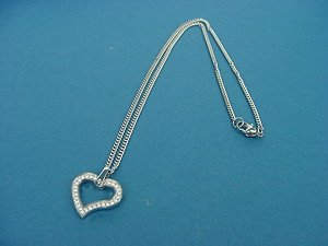 Swarovski stones heart pendant with rolo chain in stainless steel 634
