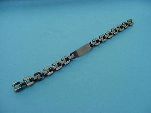 elegant stainless steel bracelet for men with middle plate in shiny black 619