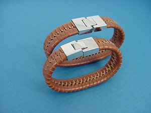 set of genuine brown leather bracelets with s.steel lock for her and him 748