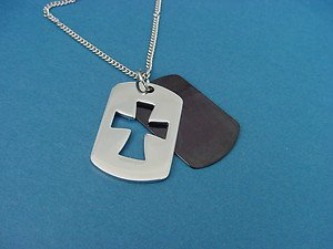 stainless steel double dog tags pendant with rolo chain 417