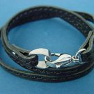 black flat leather bracelet with seam line; s.steel clasp 405