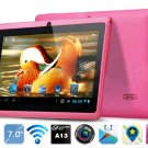 """Pink 7""""android 4.1 Capacitive 512M 4GB dual Camera HD 1024*600 a13 tablet pc 2013 Xmas present"""