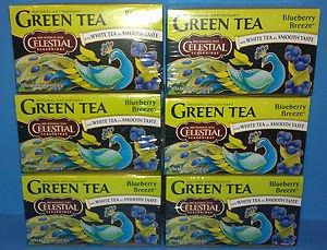 6 Boxes Celestial Seasonings Antioxidant Green Tea Blueberry Breeze (20 Count)