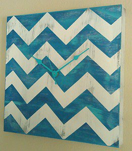 Chevron Blue and White Distressed Wood Wall Clock w/ turquoise Hands - Wooden