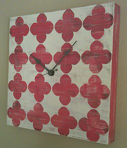 Red and White Distressed Wood Wall Clock w/ Dark Gray Hands - Wooden Clocks
