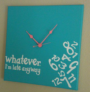 Whatever I'm Late Anyway Clock with Vinyl - Funny Clocks Bright Blue