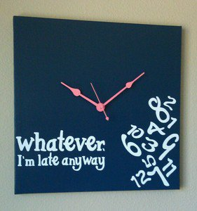 Whatever I'm Late Anyway Clock with Vinyl - Funny Clocks - Navy Blue