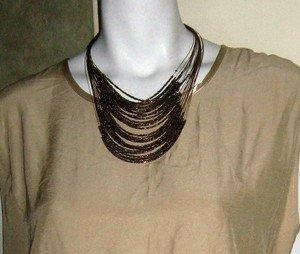 Bronze Gold Iridescent Jewelry Set Necklace & Earrings Set Beaded MULTI STRAND
